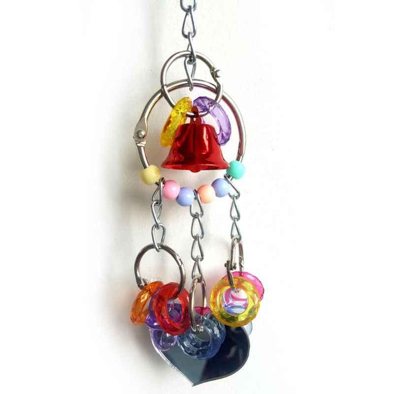 תוכי מחמד כלוב צעצועי תליית ציפור ללעוס צעצועי מראה עם פעמון עבור תוכי