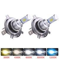 2 uds. Mini tamaño H4 H7 LED H1 H11 H8 H9 HB4 bombillas LED Canbus faros antiniebla para coche 80W 6000K 12000lm 12V 24V|Luz antiniebla de coche| |  -