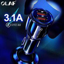 أولاف سيارة شاحن يو اس بي شحن سريع 3.0 2.0 شاحن الهاتف المحمول 2 منفذ USB سريع سيارة شاحن آيفون سامسونج اللوحي سيارة شاحن
