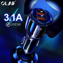 Olaf Car USB Charger Quick Charge 3.0 2.0 Mobile Phone Charger 2 Port USB Fast Car Charger for iPhone Samsung Tablet Car Charger