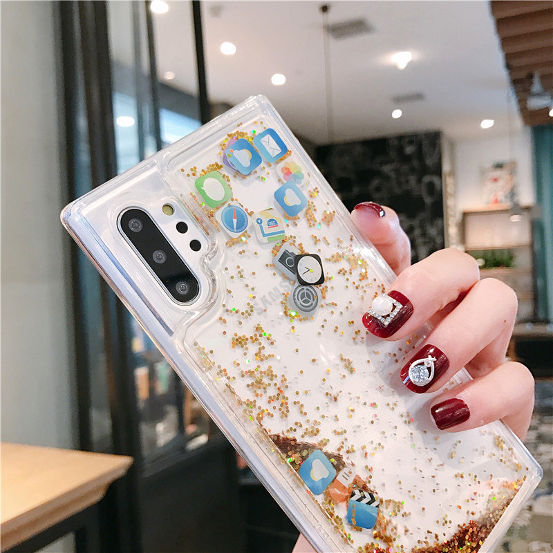 Fashion Mobile Application Icons Phone Cover for Samsung Note 10+ Dynamic Liquid Quicksand Case for Samsung S20 Ultra S9 S8 S10+