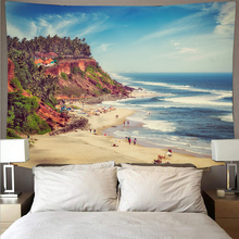 Seaside beach landscape tapestry polyester wall covering art tapestry hippie wall hanging beach towel bedroom decoration janeyu new cosmos star velvet multifunctional polyester tapestry hanging beach towel