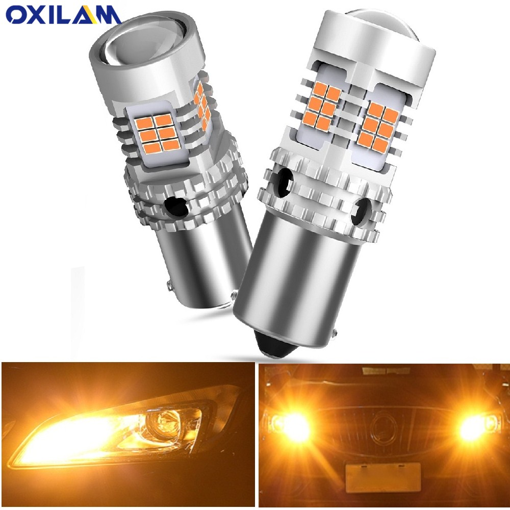 2x Car <font><b>1156</b></font> BA15S <font><b>P21W</b></font> LED No Hyper Flash Amber Yellow 26 SMD 3020 LED 7507 BAU15S LED Bulbs Turn Signal Lights <font><b>Canbus</b></font> For Benz image