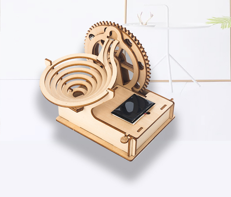 Solar Energy Powered Toy 3D Puzzle DIY Laser Cutting Wooden Model Building Kits Gifts Toy for Children LS