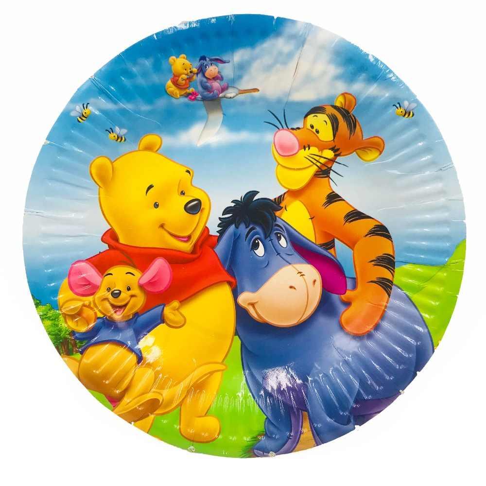 82 Pc/set Winnie the Pooh Fontes Do Partido Talheres Descartáveis Toalha de Mesa Bandeira Placas Copos Decorações De Aniversário Favorece Presentes