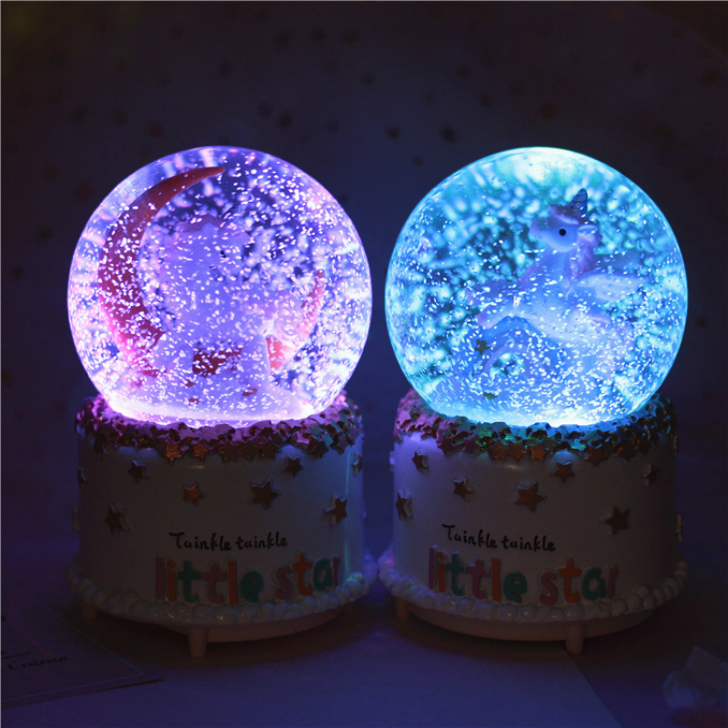 Music Box Crystal Ball Music Box Unicorn cm 15,5 Colors Sounds Snow Blue