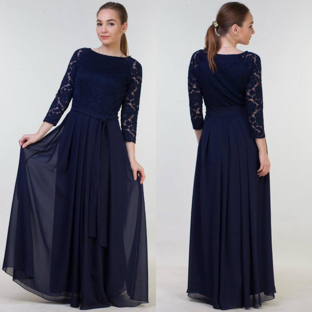 2020 Chiffon Mother Of The Bride Dresses Jewel Long Sleeves Lace Appliques Evening Gowns Floor Length Wedding Guest Dress
