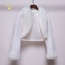 Ivory White Fur Winter Boleros Long Sleeves Women Bridal Wedding Cape 2020 Faux Cloaks Coat In Stock Jackets