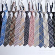 Japanese Adults Plaid Necktie Free Knot Student Uniform Tie Adjustable