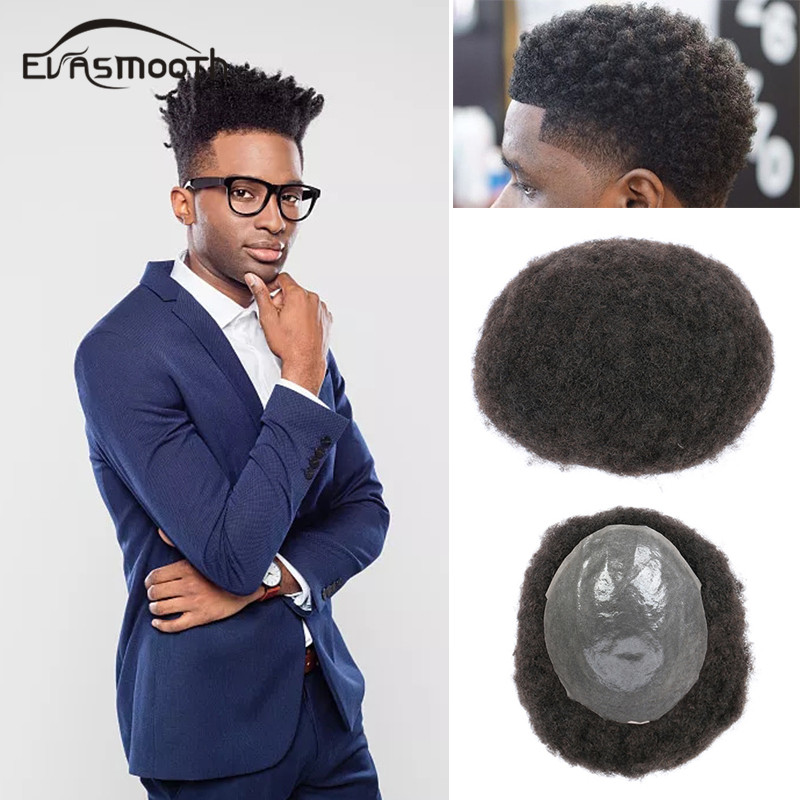 Hot Curly Toupee Short Skin Afro Wigs Durable Thin Skin Men Toupee 8x10inch PU Front Male Wig Human Hair Replacement Hair System