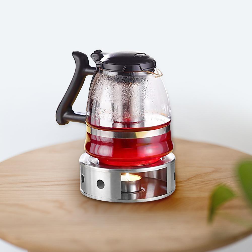 Stainless Steel Warm Tea Milk Coffee Teapot Heating Candle Base Warm Tea Heater Stove Camping Household Items Tea Warmer With Te