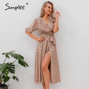 Simplee Polka dot women wrap dress Elegant puff sleeve a line v neck sash party dress Wrap work wear streetwear retro maxi dress 6