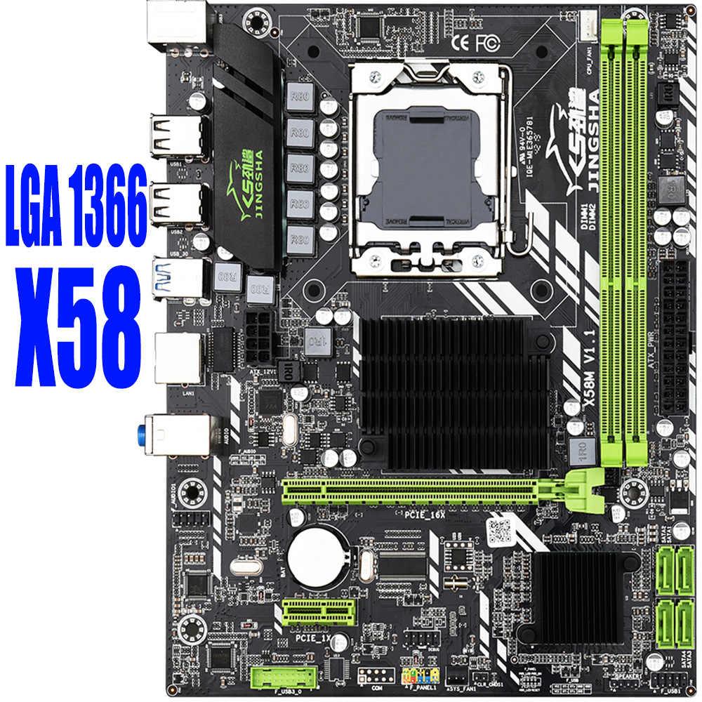 Placa-mãe x58 lga 1366, placa-mãe lga1366 com suporte ecc reg ddr3 e processador xeon usb3.0 amd rx series spell x58