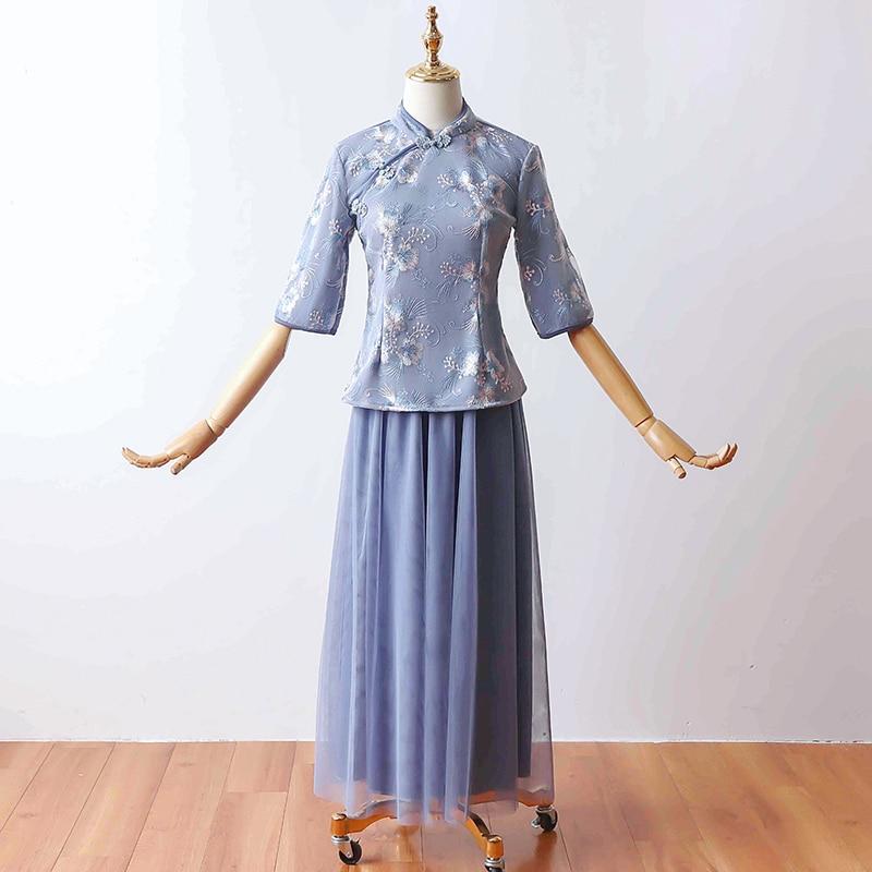 2 Pcs/set Blue Bridesmaid Dresses Tea-length Vintage Qipao Elegant Wedding Guest Dress For Wedding Party Traditional Cheongsam