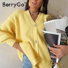 BerryGo Casual v-neck knitted kimono cardigan women Autumn winter lantern sleeve button female cardigan 2020 Streetwear sweaters