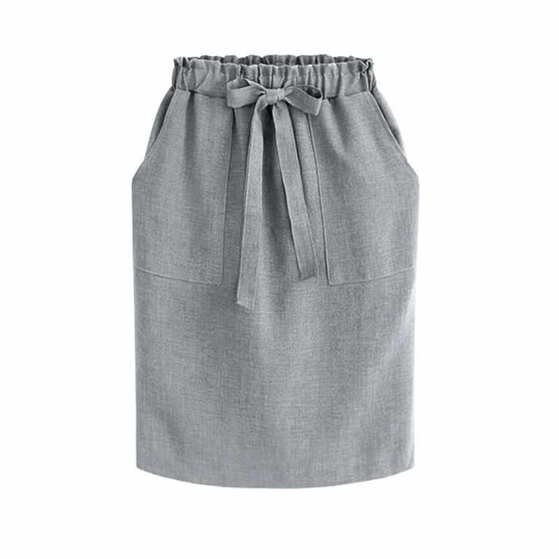 2020 nova primavera verão elegante midi saias das mulheres escritório lápis saia de algodão cintura elástica pacote saia hip saia arco verde