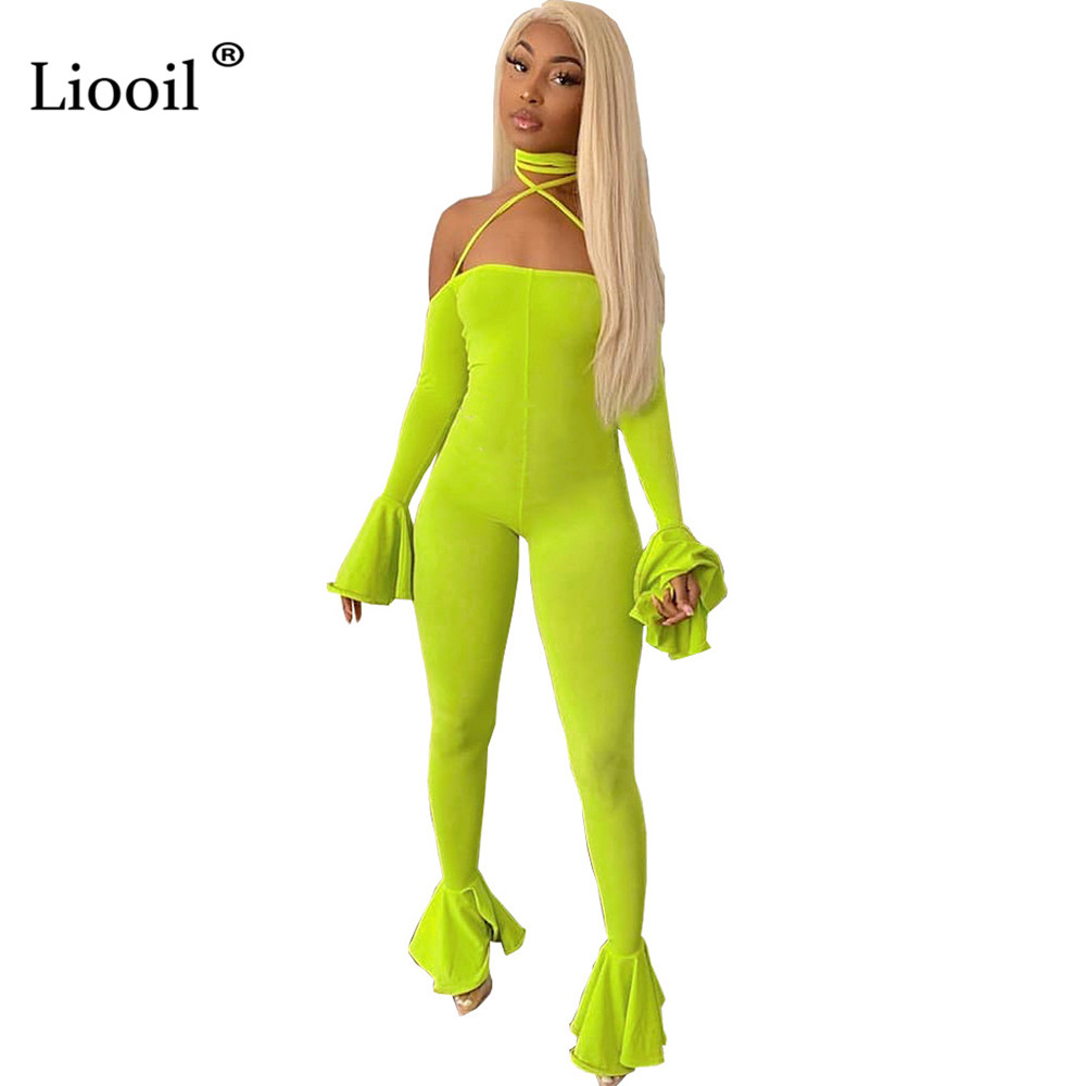 Liooil Sexy One Piece Outfits Backless Tight Bell Bottom   Jumpsuits   2019 Flare Sleeve Strapless Bodycon Party Club Women   Jumpsuit