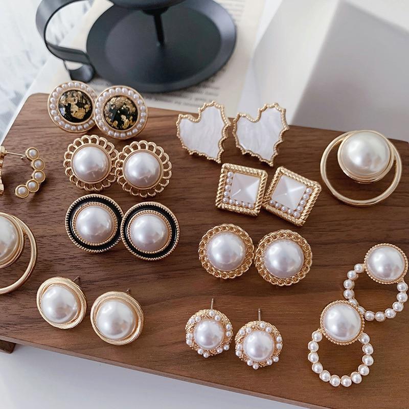 MINHIN Needle Korea Design Stud Earrings Metal Geometric Irregular Circle Teardrop Simulated Pearl Earrings For Women Girl Gift