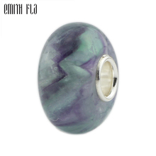 Colorful Silver Stone Charm Beads 925 Sterling Fit European Bracelets Round For Jewelry Making Big Hole