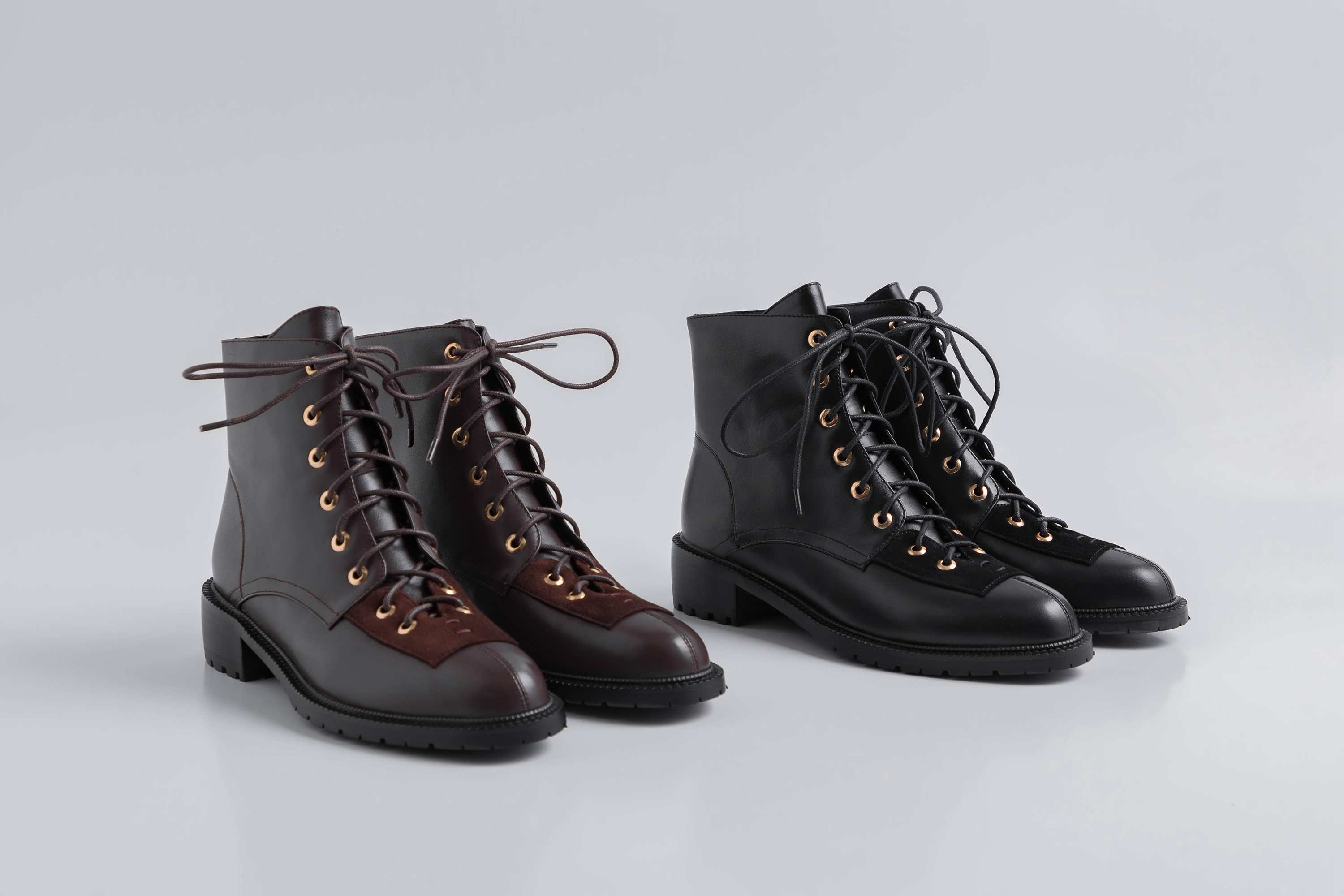 Image 5 - Lenkisen hot vintage gentle style genuine leather rivets lace up 