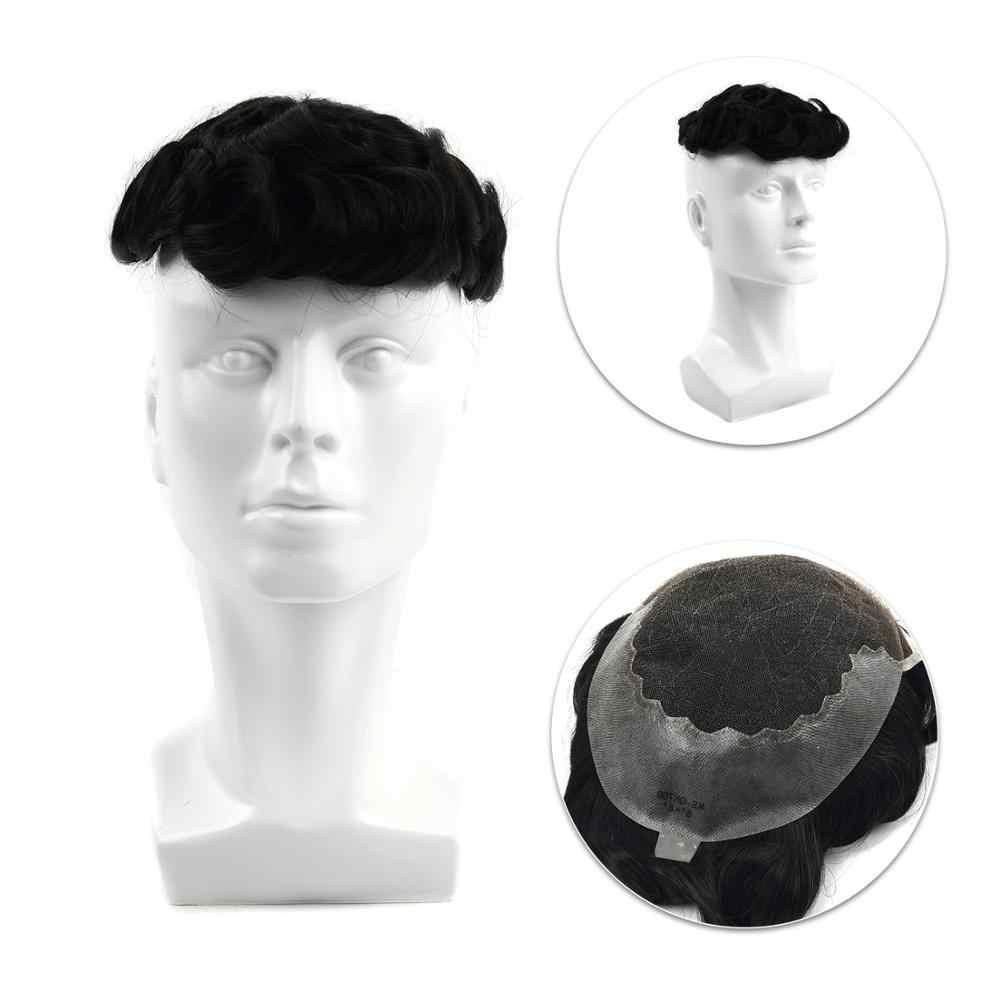 Neitsi 6 Cal mężczyzna TopperWigs ludzki włos Toupees szwajcarska koronka peruka 130% gęstość Remy naturalne Hairpiece dla mężczyzn FedEx wysyłka