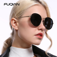 FUQIAN Brand New Classic Round Polarized Women Sunglasses Beautifu Metal and Plastic Frame Lady Glass Black Shades UV400