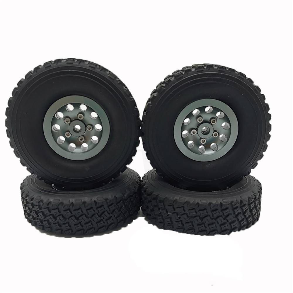 Metal Car <font><b>Wheel</b></font> Hubs Replacement Rubber Tires Hubs for 1/16 WPL B14 B24 C14 C24 C34 For 1/12 MN D90 91 96 <font><b>RC</b></font> Car Crawler Parts image