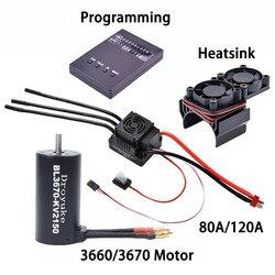 Водонепроницаемый бесщеточный двигатель 3660 2600KV/3300KV/3800KV & 3670 1900KV 2150KV/2650KV 80A/120A бесщеточный ESC Комбинированный набор для 1/8 RC Car