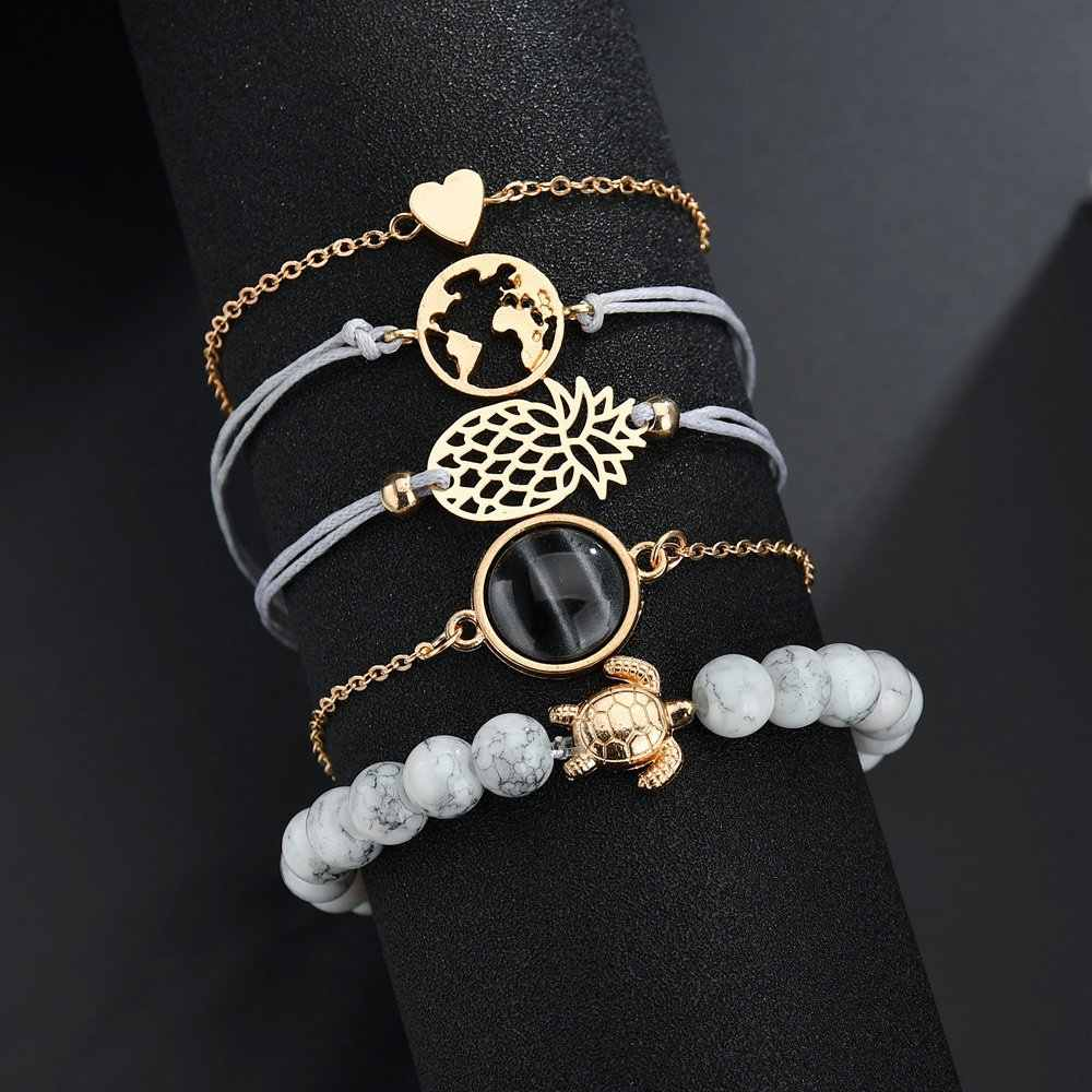 Sindlan 4PCs Gold Natural Shell Bracelets Set Pineapple Charm Love Letter Boho Bracelets for Women Bangles Bohemia Wrist Jewelry