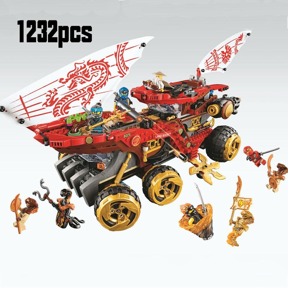 61029 858pcs Ninja Land Bounty Truck Model Building Blocks Compatible Legoinglys 70677 Ninjagoes Kids Toy Bricks