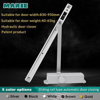 Marie4403H Silver Automatic Door Closer Hydraulic Buffer Mute Closing Speed Adjustable Positioning For 40-65kg Door Controller