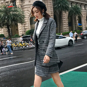 Image 2 - 2019 חורף נשים חליפות משרד משובץ טוויד ארוך שרוול מעיל מעיל בליזר הלבשה עליונה + אופנה מיני חצאית חליפת 2 חתיכה סט Vestidos
