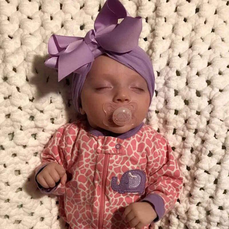 0-3T Yürümeye Başlayan Bebek Kız Çocuk Bebek Sevimli Yumuşak Büyük Yay Hairband kafa Streç Türban Başkanı Wrap Örme ilmek 18 Renk