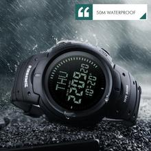 LED Digital Watch Men Outdoor 50m Waterproof With Compass Mu