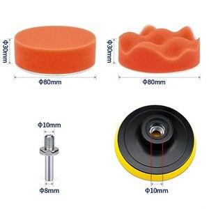 Image 4 - 22 개/대 자동차 연마 스폰지 키트 3 인치 버핑 패드 M10 스레드 양모 휠 어댑터 세차 자동 자세히 청소