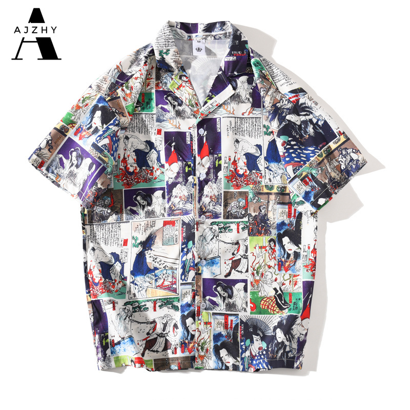 Anime Print  Hawaiian Shirts Men Streetwear Hip Hop Harajuku Casual Tropical Beach Short Sleeve Shirt Summer Fashion Tops Male 1