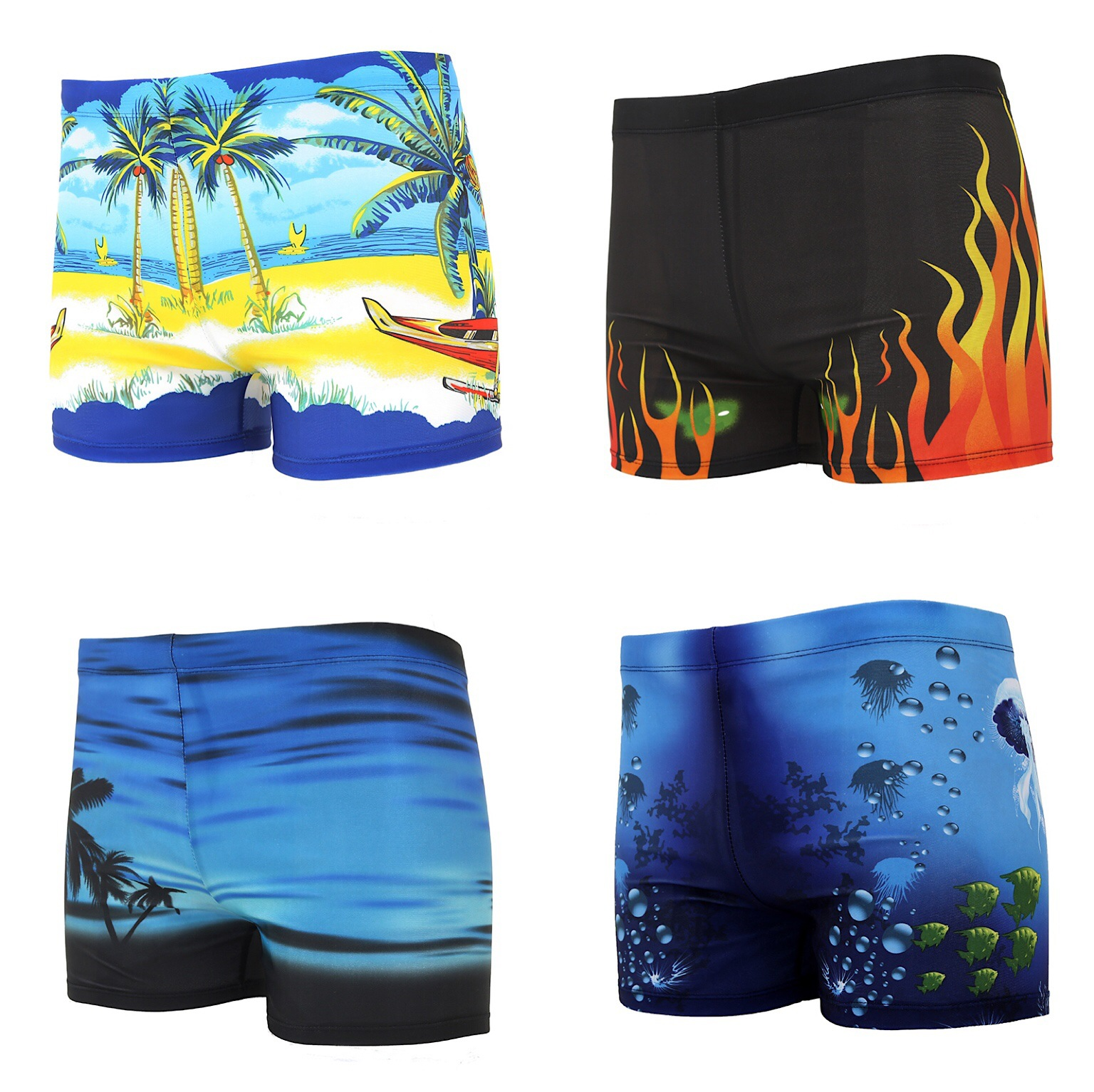 [Hot Selling] Adult MEN'S Swimming Trunks Large Size Printed Hot Springs Boxers Loose-Fit Quick-Dry Swimming Trunks