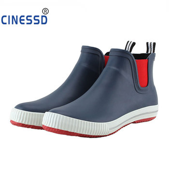 side flower rain boots women waterproof rubber fashion rainboots wedges casual high quality ankle short boots water shoes female Fashion Men Rainboots Size 36-44 Unisex Ankle Rubber Rainboots Slip On Waterproof Water Shoes Warm Socks Inserts Wellies Boots
