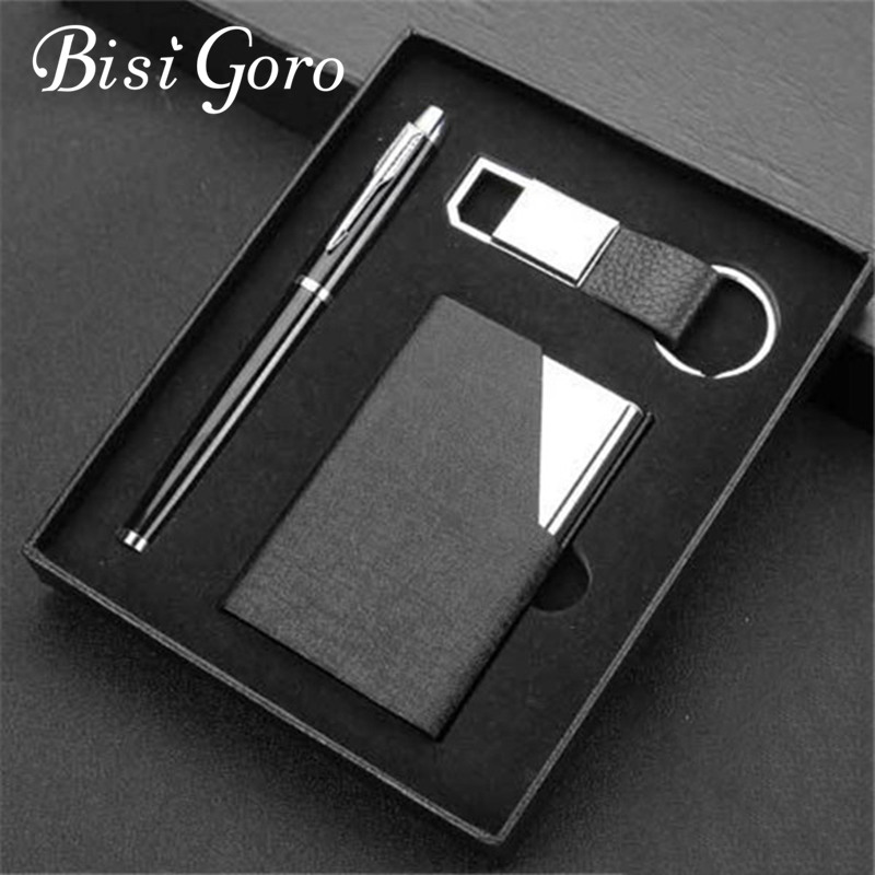 BISI GORO Gift Business Card Holder Set Pen Key Holder With Box Organizer Card Case Multi High Quality Metal Pop Up Wallet