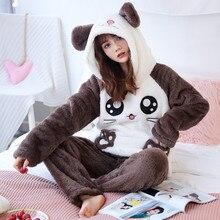 Милый зимний фланелевый пижамный комплект JULYS SONG с животными, женская одежда для сна, толстая плюшевая мягкая милая девушка с мультяшным рисунком, бархатная домашняя одежда