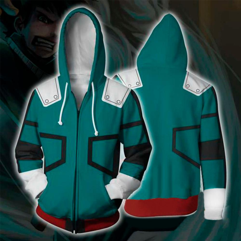 3D My Hero Academia Zipper Hoodie Men Women Deku Izuku Midoriya Cosplay Costume Boku No Hero Academia Sweatshirt School Uniform