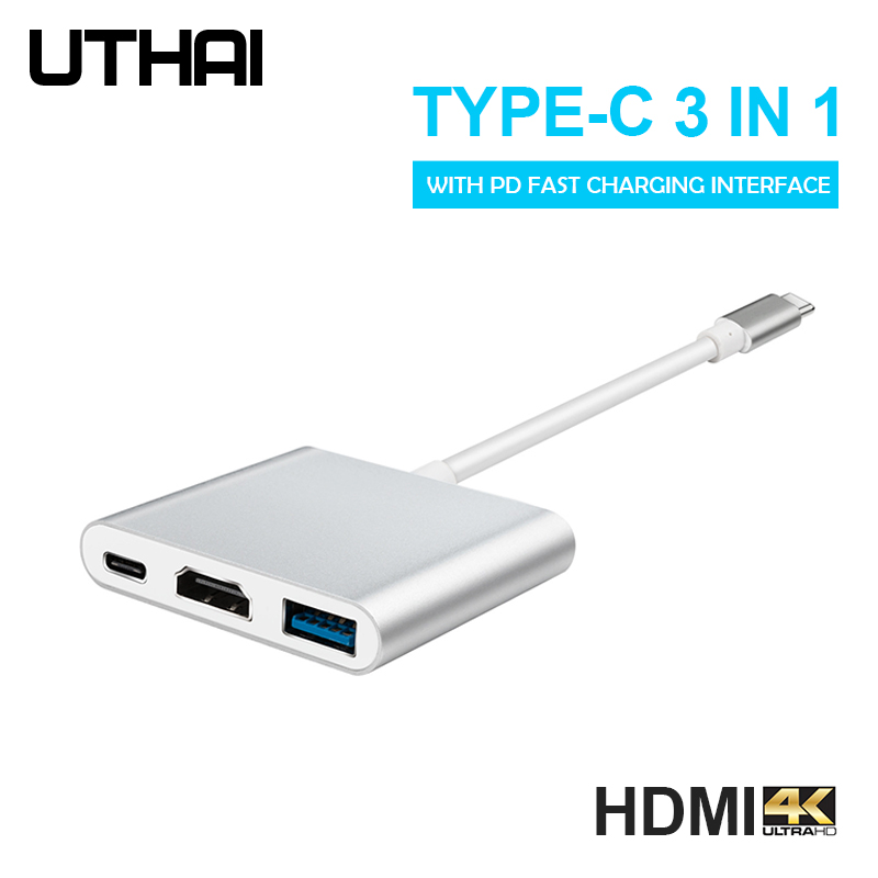 UTHAI C41 Type-C to HDMI 1080P 4K Adapter Android Phone to HDMI HD Cable PD Charging USB C 3 In 1 Converter