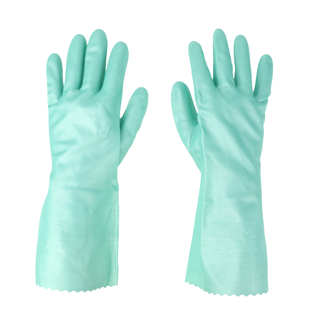 Latex&Nitrile Gloves Green 300mm Hand Safety Protection Kitchen Cleaning
