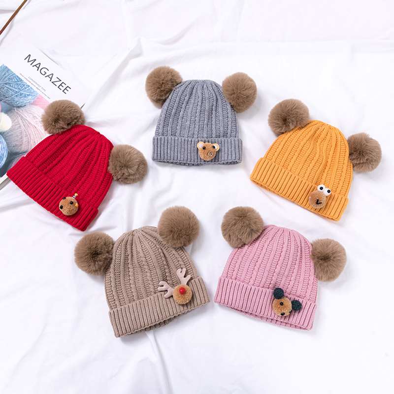 Newborn Kids Baby Unisex Hat With Pom Pom Winter Warm Cartoon Wool Knitted Cap