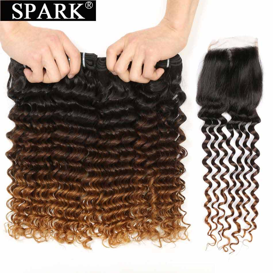 SPARK Human Hair Brazilian Deep Wave Ombre Bundles With Closure Remy Hair Human Hair With Closure Deep Curly For Black Women