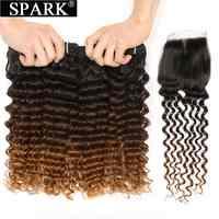 Brasileños mechones de cabello humano brillante con ondas profundas, cabello Remy con cierre, cabello humano con cierre de rizos profundos para mujeres negras