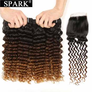 SPARK Human Hair Brazilian Deep Wave Ombre Bundles With Closure Remy Curly For Black Women - discount item  52% OFF Human Hair (For Black)