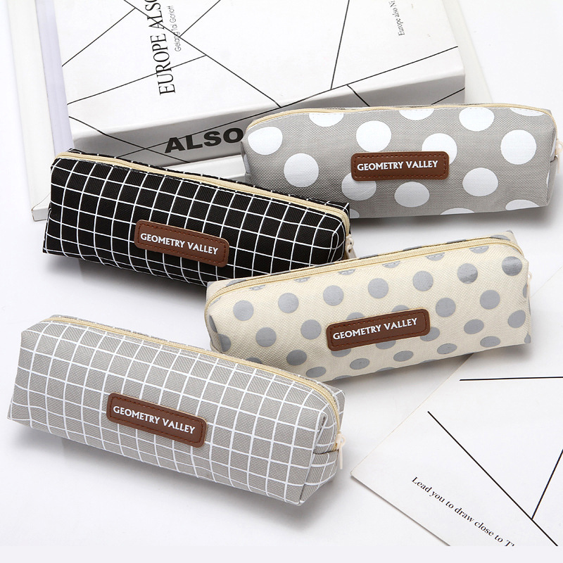 1PCS Lattice dot Pencil Case Office Stationery And School Supplies High Capacity Canvas Material Pencil Bag pencil pouch