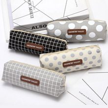 1PCS Lattice dot Pencil Case Office Stationery And School Supplies High Capacity Canvas Material Bag pencil pouch