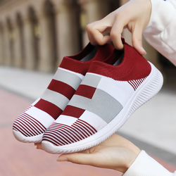 Woman Tennis Shoes Slip-on Ladies Super Light Red Sports Shoes Female Sneakers Breathable Women Flats Outdoor Walking Shoes